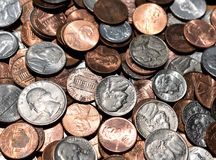 American Coins In A Big Pile Background royalty free stock photo