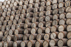 Large pile of whisky barrels Stock Photography