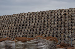 Large pile of whisky barrels Stock Images