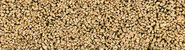 Large pile of wood logs panorama Royalty Free Stock Images