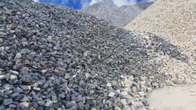 Large piles of limestone for use in lime kiln line . Limestone gravel background. Texture stock photo