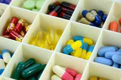 Large pill box for individual weekly pill storage. Royalty Free Stock Photography