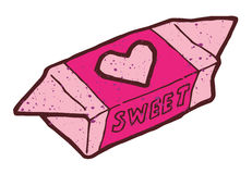 Large pink candy with picture of the heart Royalty Free Stock Images