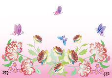 Large pink flowers and butterflies Royalty Free Stock Image