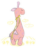 Large pink giraffe Stock Photos