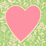 Large pink heart on a light seamless background with flowers. Royalty Free Stock Photos