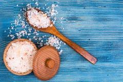 Large pink sea salt on blue background Stock Images