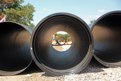 Large pipes. For construction work stock image