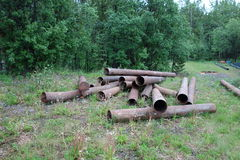 Large pipes used for mining gold. Royalty Free Stock Photo