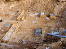 Large pit and foundation with reinforcement Royalty Free Stock Image