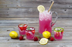 Large Pitcher Of Lemonade With Glassware Royalty Free Stock Photo