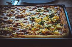 Large pizza on baking tray with pineapple hawaii style on one en Royalty Free Stock Image