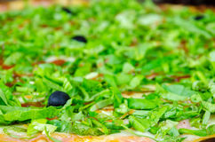 Large pizza decorated with lettuce and olives Stock Photos