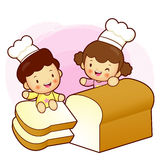 Large plain bread and Brother and Sister Mascot. Home and Family Stock Photos