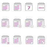 Large Planner Calendar Icon Set for Applications and Web Royalty Free Stock Photo