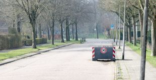 Large planter serving as a roadblock, enforcing the speedlimit of 30km/h. The Netherlands stock photos