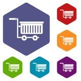 Large plastic supermarket cart icons set hexagon Stock Images