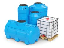 Large plastic tanks for autonomous water supply. 3d render Royalty Free Stock Photo
