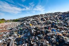 Large plastic waste mountains from urban and industrial areas. In underdeveloped countries, India, Myanmar, Thailand, Cambodia, Vietnam, Philippines royalty free stock photo