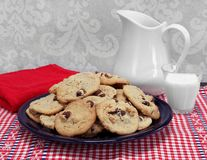 Large plate of homemade chocolate chip and walnut cookies. Royalty Free Stock Images