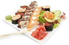 Large plate of sushi Royalty Free Stock Images