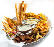 Large plate a wide selection snacks for beer served Stock Images