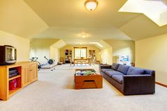 Large play room with Tv, sport and games. Stock Photo