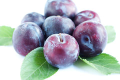 Large plums lie on a white surface Stock Images