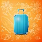Large polycarbonate suitcase stock illustration