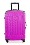 Large polycarbonate suitcase on white Royalty Free Stock Photo