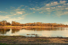 Large pond in the forest area Stock Images