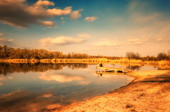 Large pond in the forest area Royalty Free Stock Photography