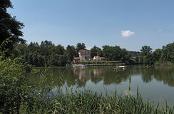 Large pond in the historic spa park of Bad Nauheim, Hesse, Germany.  Stock Photo