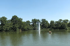Large pond in the historic spa park of Bad Nauheim, Hesse, Germany.  Royalty Free Stock Image