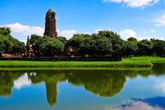 The large pond at Praram temple stock photo