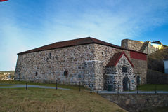 The large powder magazine. The building was the fortress's main ammunition storage and consists of a vaulted room with up to 3 meters thick walls. Powder Tower Stock Photo