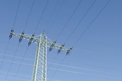 Large power. Lines with blue sky Stock Images