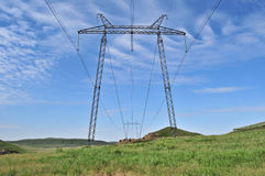 Large power line in the wild. Power line in the wild Royalty Free Stock Photography