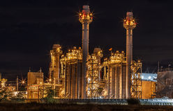 Large power plant. At night Stock Photo