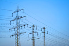 Large power supply lines Stock Photos