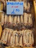Large Prawns, Athens Fish Markets Royalty Free Stock Images