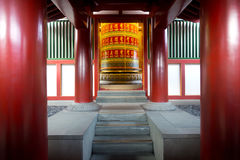 Large Prayer Wheel at Buddha's Relic Tooth Temple in Singapore C Stock Photos
