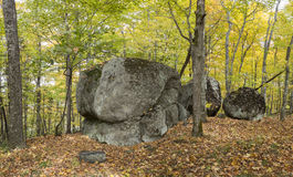 Large Precambrian Boulders in a Fall Forest - Ontario, Canada. Large Precambrian Boulders in a Fall Forest - Algonquin Provincial Park, Ontario, Canada stock image