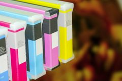 Large printer format inkjet working. Modern digital printing press, concept, closeup of the toner cartridges stock photography