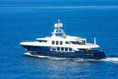 A large private motor yacht. Under way out at sea Stock Images