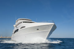Large private motor yacht out at sea Royalty Free Stock Image
