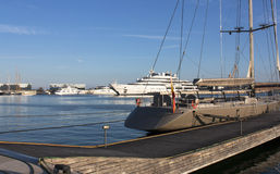 A large private yachts in harbor - Spain. Tarragona. 12.06. 2016 Stock Photography