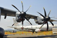 The large propellers of military transport aircraft. The propellers of Airbus A400M Atlas aircraft which is a multi-national 4 engines turboprop military Stock Photography