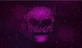 A large purple skull made of binary code symbols in outer space. Hackers broke the computer system. Fantastic, purple starry sky.