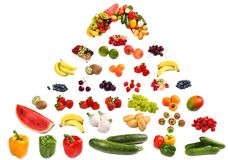 Large Pyramid Of Fruits And Vegetables Stock Images